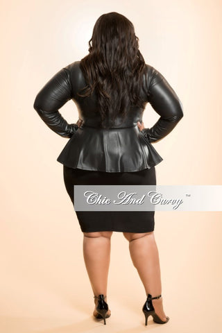 Final Sale Plus Size Liquid Peplum Jacket in Black