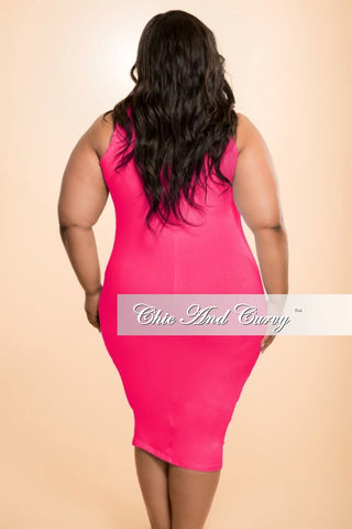 New Plus Size Sleevess BodyCon Dress in Hot Pink