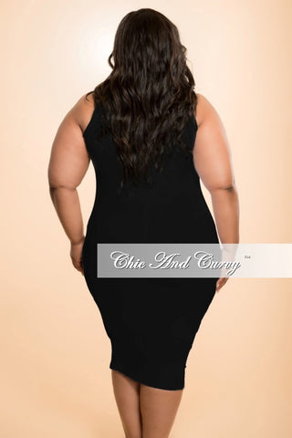New Plus Size Sleevess BodyCon Dress in Black