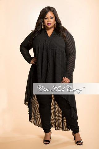 Final Sale Plus Size Sheer Top with Tail in Black