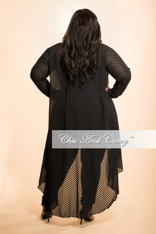New Plus Size Sheer Top with Tail in Black