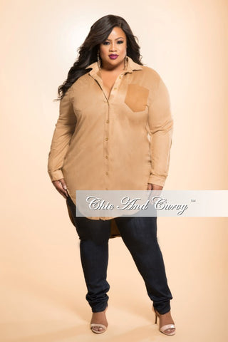 New Plus Size Button Up Top with Tail in Camel/ Light Brown