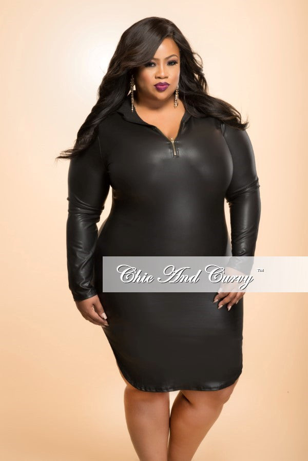 Final Sale Plus Size BodyCon Liquid Dress with Hood in Black – Chic ...