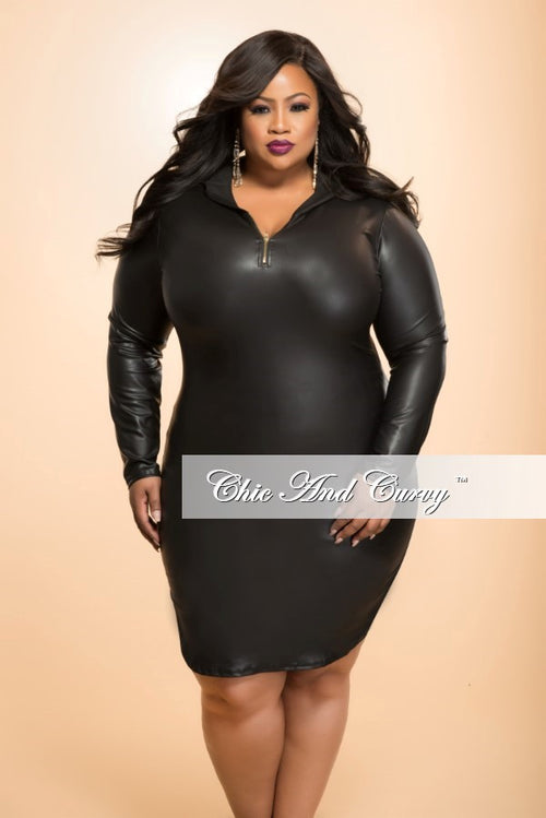 Final Sale Plus Size BodyCon Liquid Dress with Hood in Black