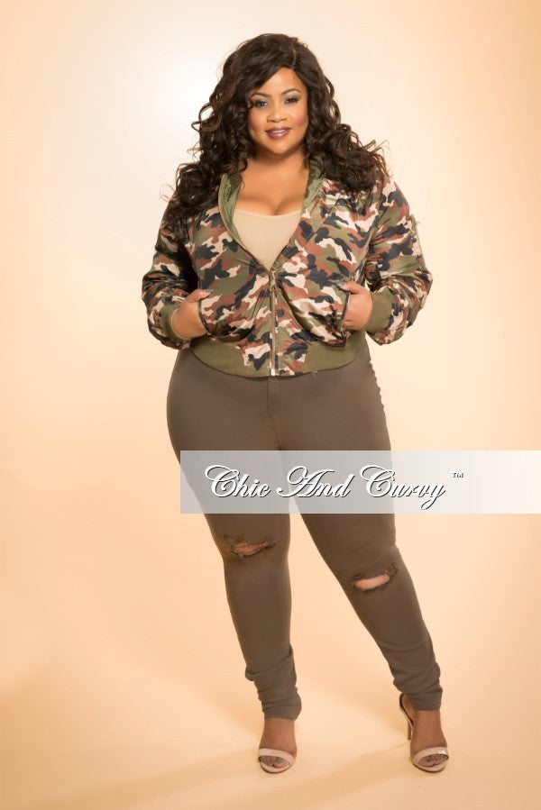 8e870d20793 Final Sale Plus Size Bomber Jacket in Camo Print – Chic And Curvy
