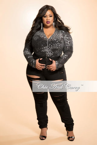 New Plus Size Bodysuit in Black and Silver with Zipper