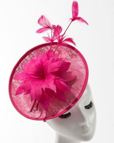 Final Sale Fascinator Hat with Large Flower and Feathers in Fuchsia