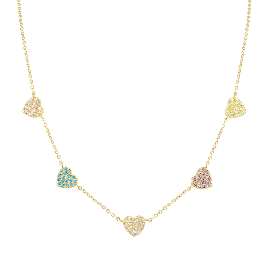 Pastel Multi Heart Necklace