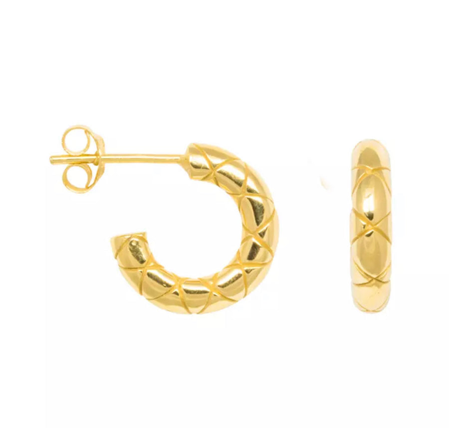 Pattern Gold Hoops