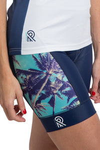 Indigo Palmtrees Navy Thights Shorts Blue Photoprint