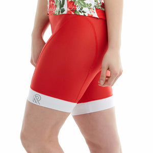 Cycling Shorts Thights Bright Red Colorblock