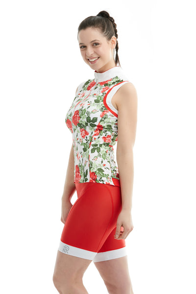 Cycling Sleeveless Floral Print Roses Red Cami Top Cyclewear Velo Cyclisme bikewear women femme ladies jolieride