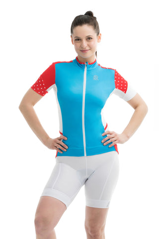 Cycling Sportsmesh Mesh  Red Polkadot Blue Black Sleeves Tshirt Colorblock Jersey