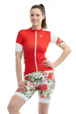Cycling Sportsmesh Mesh  Red Sleeves Tshirt Colorblock Jersey Floral Roses Flowers