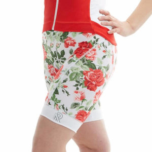 Cycling Shorts Thights Red Print Floral Roses cuissard velo cyclisme cyclewear bikewear femme women ladies padded jolieride