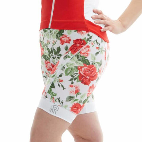 Cycling Shorts Thights Red Print Floral Roses
