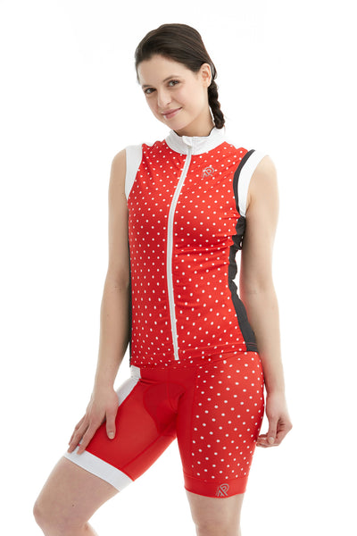 Cycling Sportsmesh Sleeveless Mesh White Red Polkadot Bright