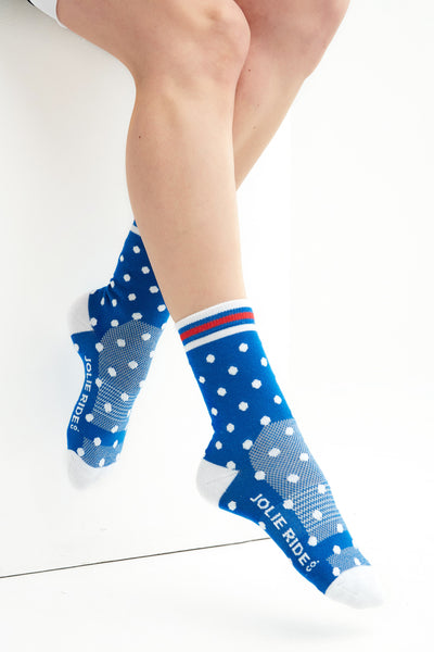 Cycling Socks Blue Polkadot Accessories