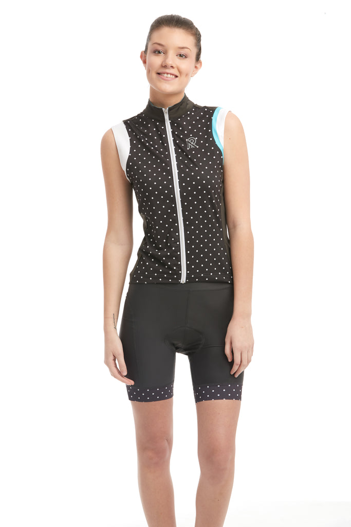 Cycle Tank Grey Polkadot jersey cyclewear cyclisme sleeveless cycle jersey women femmes haut top jolieride cami camisole velo