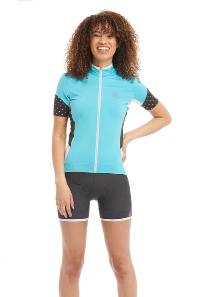 Short Sleeve Cycling Jersey Blue and Polkadotted