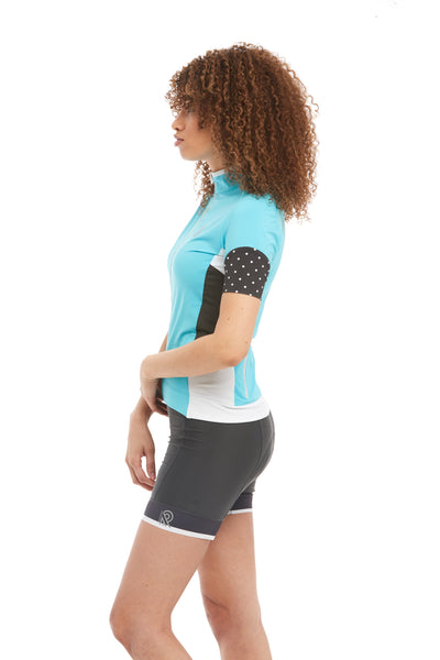 Short Sleeve Cycling T-Shirt Blue and Polkadotted