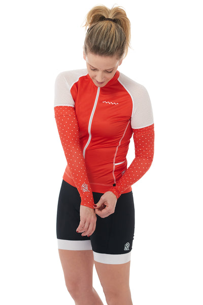 Short Sleeves, Jersey, 50 UFP, Fire-red, Mesh Sleeves, JolieRide, Back Pockets