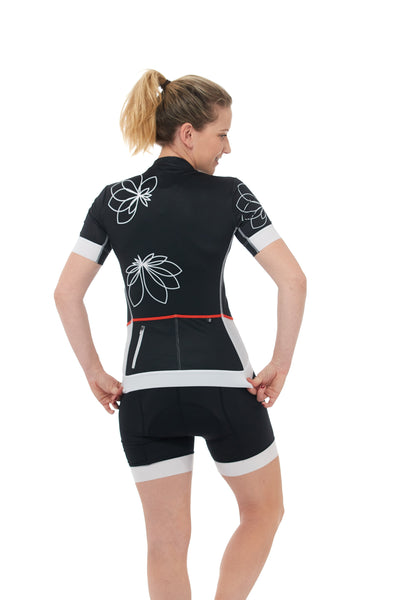 Short Sleeves, Jersey, 50 UFP, Black, White, Flowers, Mesh Sleeves, JolieRide