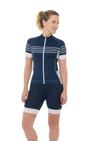 Short Sleeves, Jersey, 50 UFP, Navy, Stripes, White, Flowers, Mesh, Sleeves, JolieRide