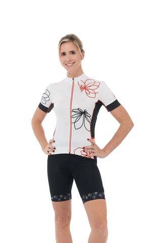 Short Sleeves, Jersey, 50 UFP, Black, White, Flowers, Red, Mesh, Sleeves, JolieRide