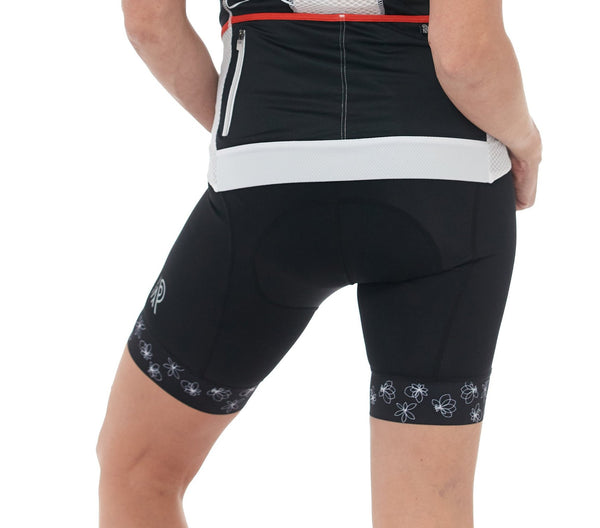 Cycling Short Black White Padded cyclewear jolieride women bicycle bikewear cycle wear Flower Print
