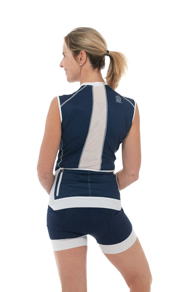 Sleeveless, Navy, Jersey, 50 UFP, White, Stripes, Mesh, JolieRide, Tank