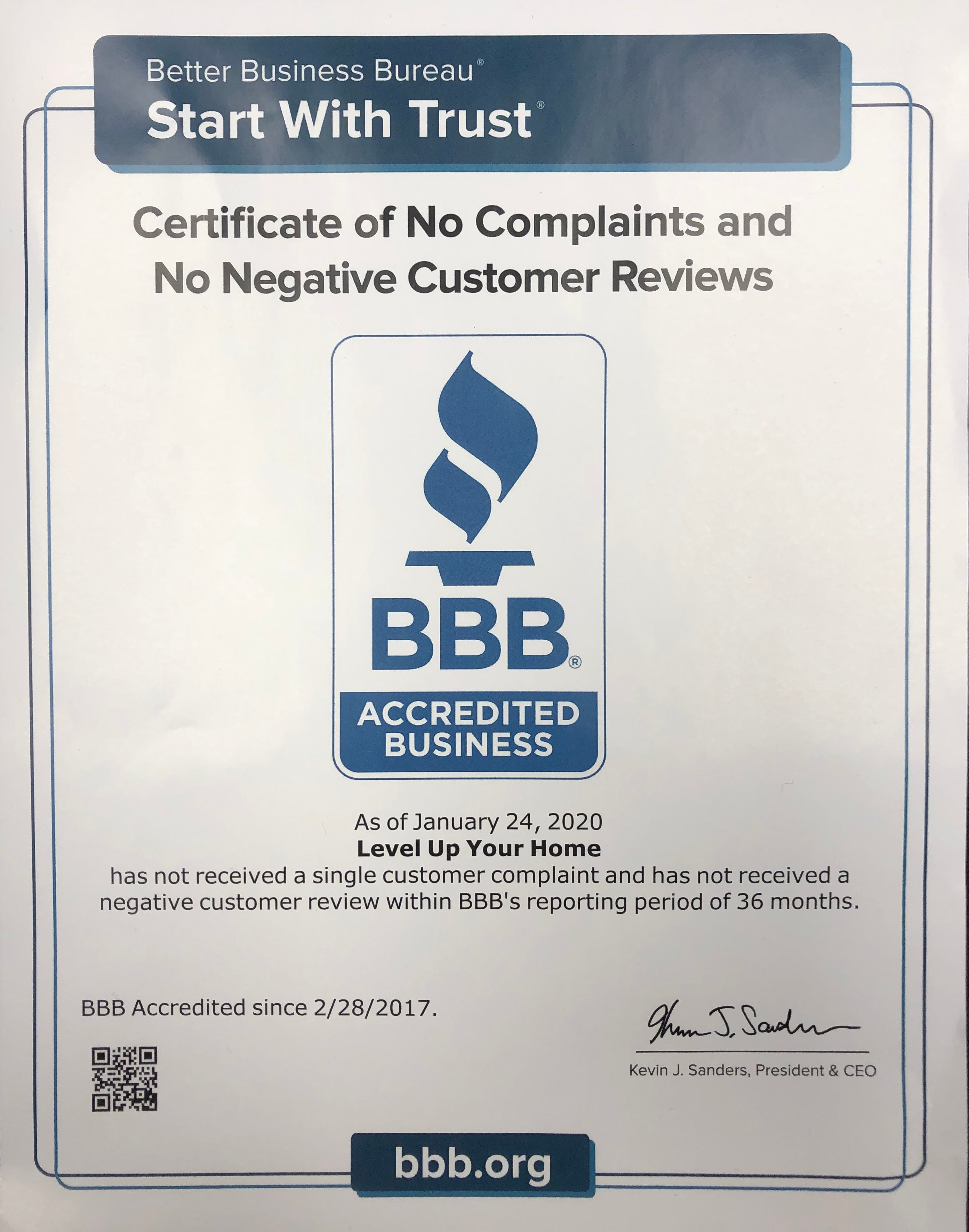 Better Business Bureau announces A+ rating for Level Up