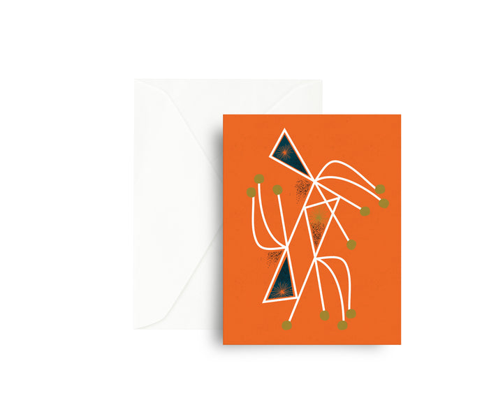 Mid Century Orange Mobile Greeting Card