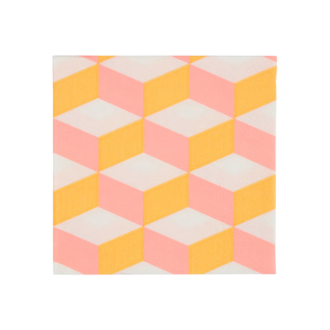 Small Orange And Pink Patterned Napkins