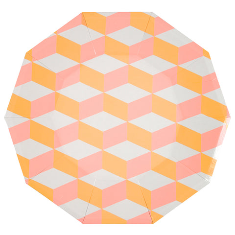 Large Orange And Pink Patterned Plates
