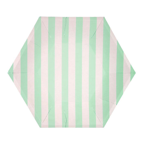 Mint Striped Plates (large)