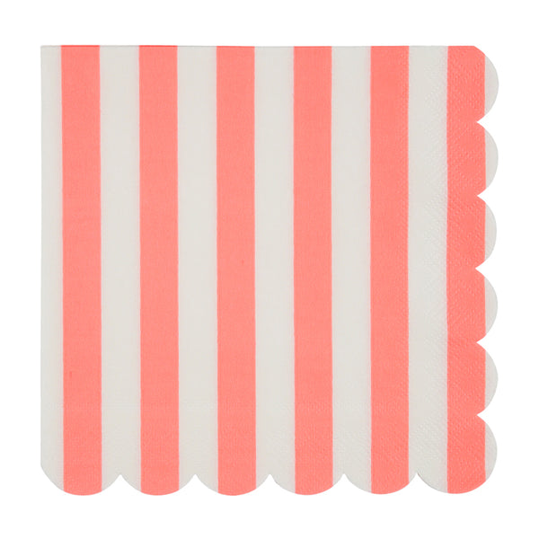 Large Coral Striped Napkins