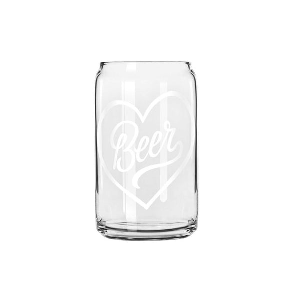 Heart Beer Glass Can