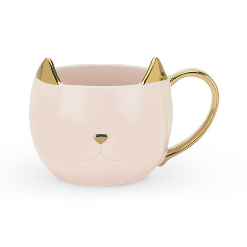 Chloe Ceramic Cat Mug- Gold & Pink
