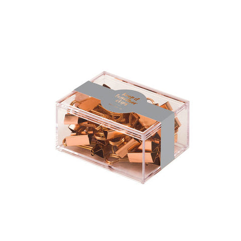 Box of Binder Clips Copper