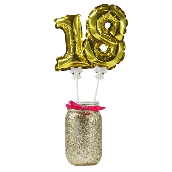 Party Time Mini Gold Balloon Toppers