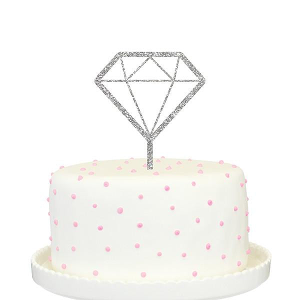 alexis mattox design diamond icon cake topper silver glitter