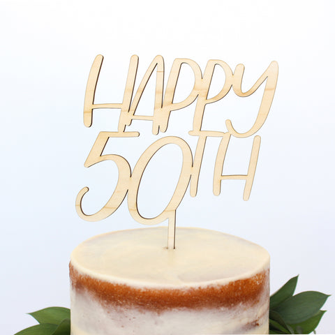 Alexis Mattox Design - Happy 50th Wood Cake Topper