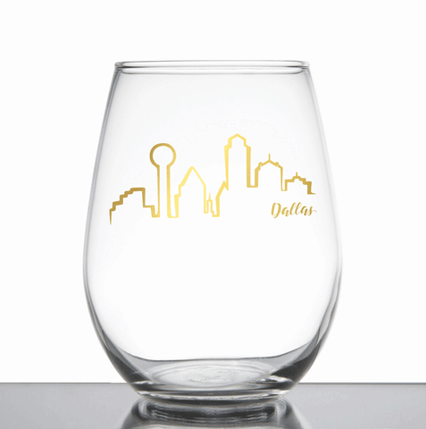 Dallas skyline wine glass