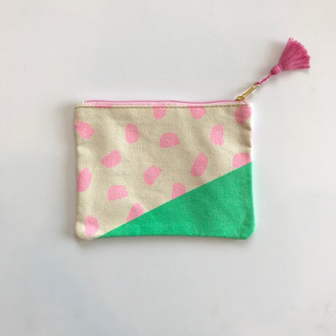 Pink and Green Cosmetic Bag