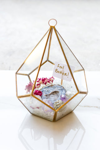 Glass Geo Pyramid Succulent Arrangement