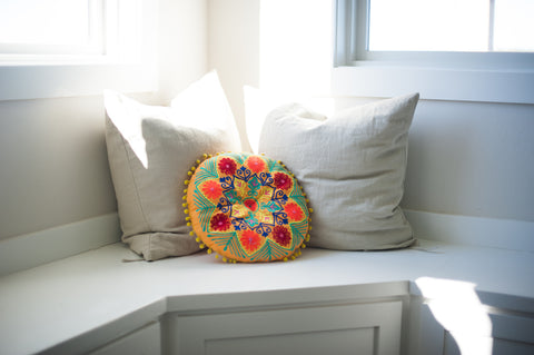 floral lace embroidered pillow