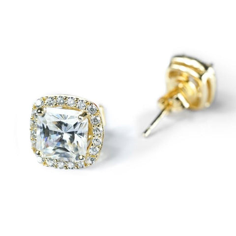 Moissanite Halo Stud Earrings
