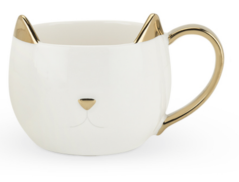Chloe Ceramic Cat Mug- White & Gold