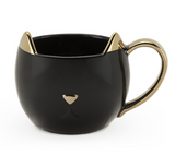Chloe Ceramic Cat Mug- Black & Gold